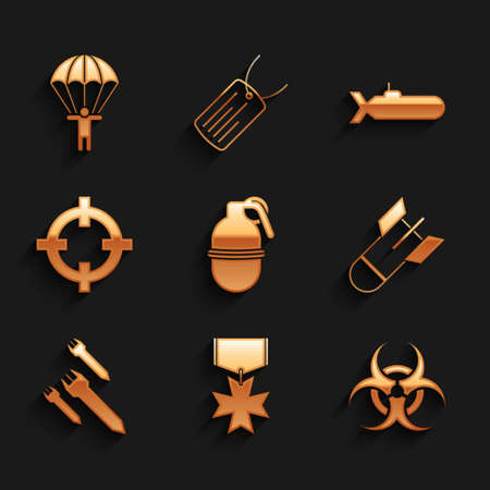 Set Hand grenade, Military reward medal, Biohazard symbol, Aviation bomb, Rocket, Target sport, Submarine and Parachute icon. Vector