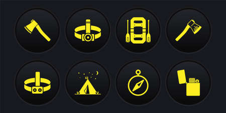 Set Head flashlight, Wooden axe, Tourist tent with flag, Compass, Rafting boat, Lighter and icon. Vector