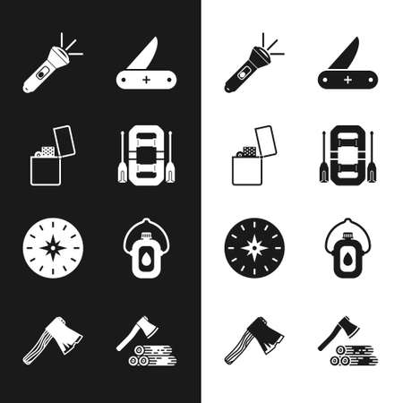 Set Rafting boat, Lighter, Flashlight,  Compass, Canteen water bottle, Wooden axe and wood and Old wooden icon. Vector 일러스트
