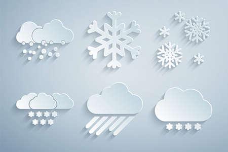 Set Cloud with rain, Snow, snow, Snowflake and icon. Vector 일러스트