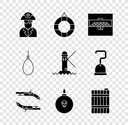 Set Pirate captain, Lifebuoy, Antique treasure chest, Vintage pistols, Bomb ready explode, Wooden barrel, Gallows rope loop hanging and Lighthouse icon. Vector