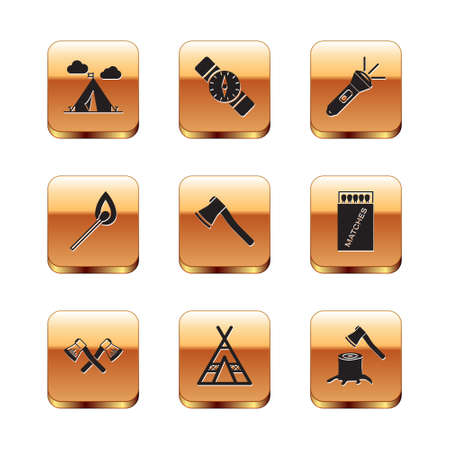 Set Tourist tent with flag, Crossed wooden axe, Wooden, Burning match fire, Flashlight, stump and Compass icon. Vector 일러스트