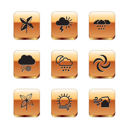 Set Pinwheel, Wind and sun, Cloud with snow, rain, moon, lightning, Tornado swirl and Storm icon. Vector 일러스트