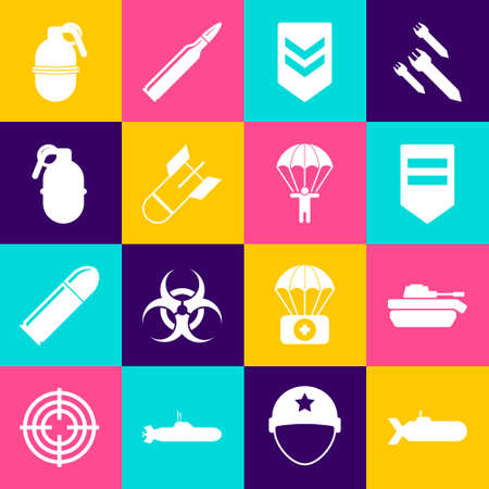 Set Submarine, Military tank,  Aviation bomb, Hand grenade, and Parachute icon. Vector 일러스트