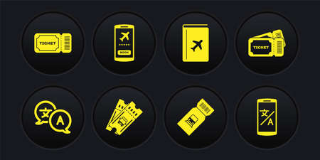 Set Translator, Ticket, Bus ticket, Train, Cover book travel guide, Mobile, Online translator and icon. Vector