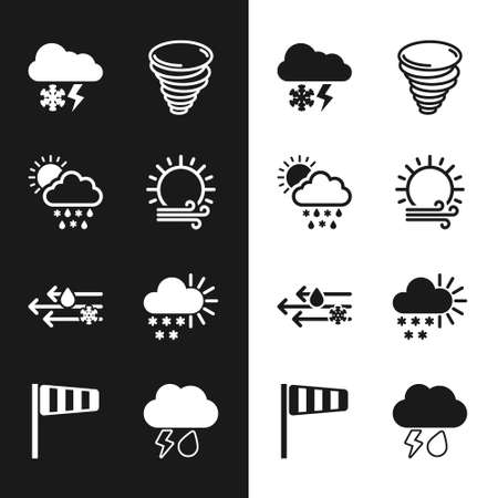 Set Wind and sun, Cloud with snow, rain,, lightning, Tornado, Cloudy, and Cone windsock wind vane icon. Vector 일러스트