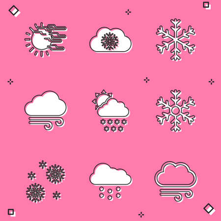 Set Fog and sun, Cloud with snow, Snowflake, Windy weather icon. Vector 일러스트