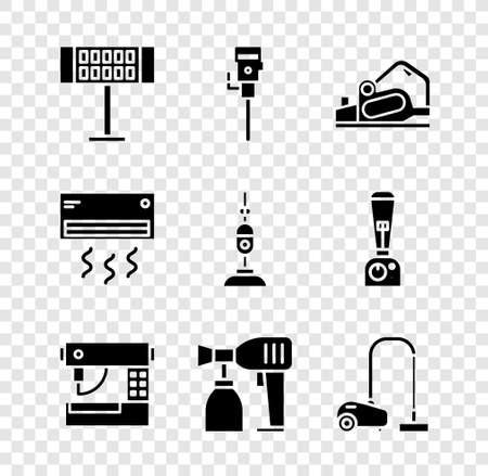 Set Electric heater, Construction jackhammer, planer tool, Sewing machine, Paint spray gun and Vacuum cleaner icon. Vector 일러스트