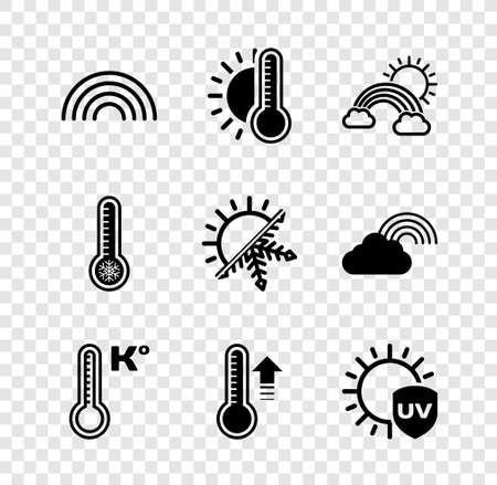 Set Rainbow, Thermometer with sun, clouds, Meteorology thermometer, UV protection, and Sun snowflake icon. Vector