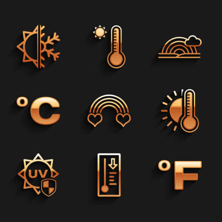 Set Rainbow with heart, Meteorology thermometer, Fahrenheit, Thermometer sun, UV protection, Celsius, cloud and Sun and snowflake icon. Vector