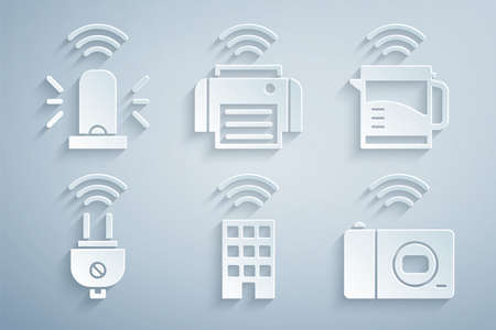 Set Smart home with wireless, electric kettle, plug, photo camera, printer and flasher siren icon. Vector