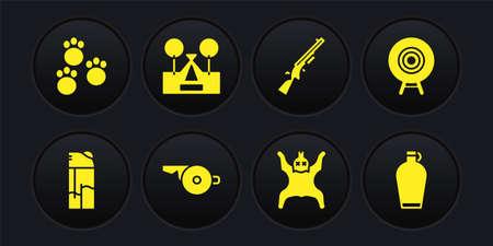 Set Lighter, Target sport, Whistle, Bear skin, Shotgun, Tourist tent, Canteen water bottle and Paw print icon. Vector 일러스트