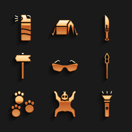Set Glasses, Bear skin, Flashlight, Medieval spear, Paw print, Road traffic sign, Hunter knife and Pepper spray icon. Vector