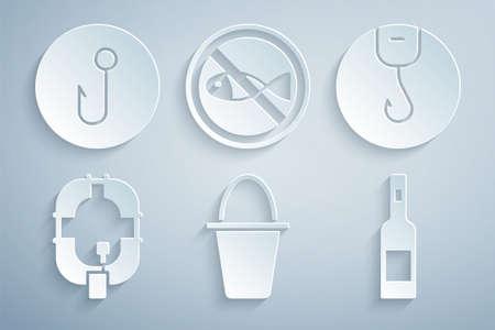 Set Fishing bucket, hook, Inflatable boat, Bottle of vodka, No fishing icon. Vector