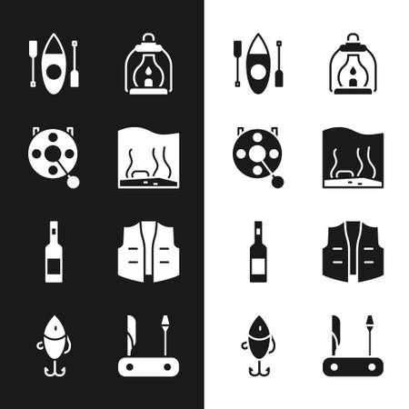 Set Aquarium, Spinning reel for fishing, Kayak canoe, Camping lantern, Bottle of vodka, Fishing jacket,  and lure icon. Vector 일러스트