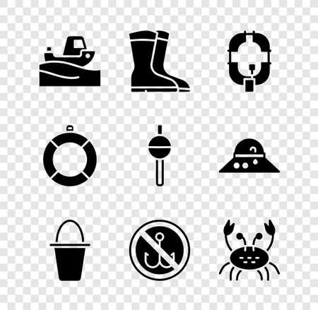 Set Fishing boat on water, boots, Inflatable, bucket, No fishing, Crab, Lifebuoy and float icon. Vector 일러스트