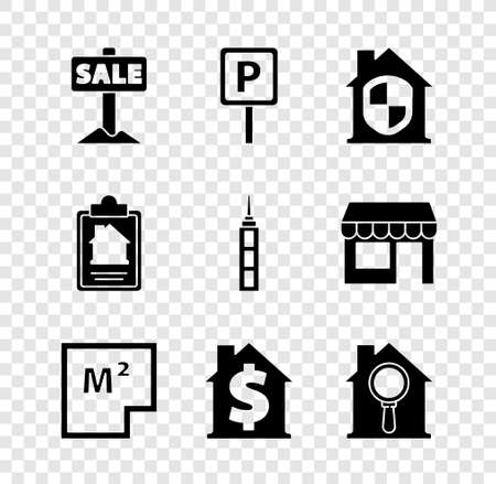Set Hanging sign with Sale, Parking, House under protection, plan, dollar symbol, Search house, contract and Skyscraper icon. Vector