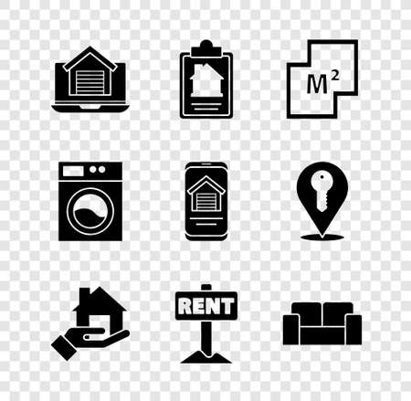 Set Online real estate house, House contract, plan, Hanging sign with Rent, Sofa, Washer icon. Vector