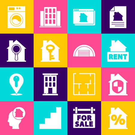 Set House with percent discount, under protection, Hanging sign Rent, Online real estate house, key, Search, Washer and Garage icon. Vector