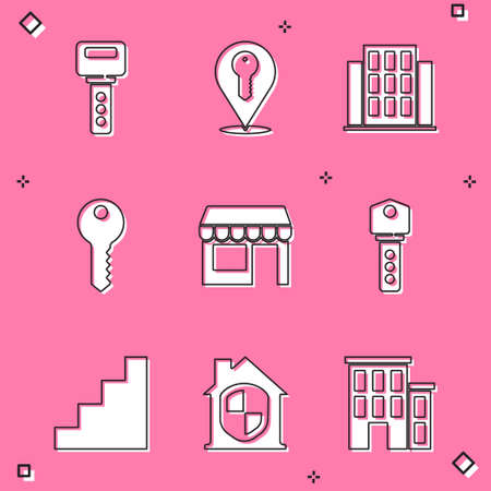 Set House key, Location, Market store, Staircase and under protection icon. Vector