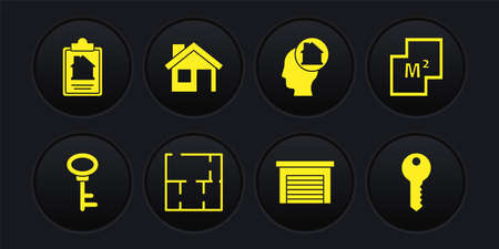 Set House key, plan, Garage, Man dreaming about buying house, and contract icon. Vector 일러스트