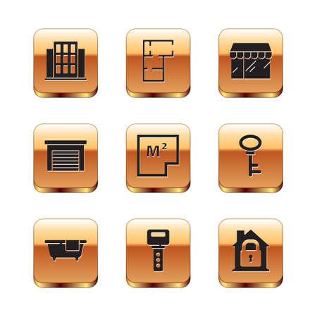 Set House, Bathtub, key, plan, Garage, Market store, under protection icon. Vector 일러스트