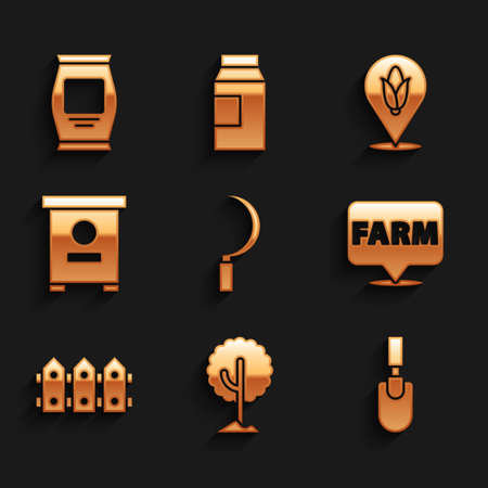 Set Sickle, Tree, Garden trowel spade or shovel, Location farm, fence wooden, Hive for bees, corn and Fertilizer bag icon. Vector