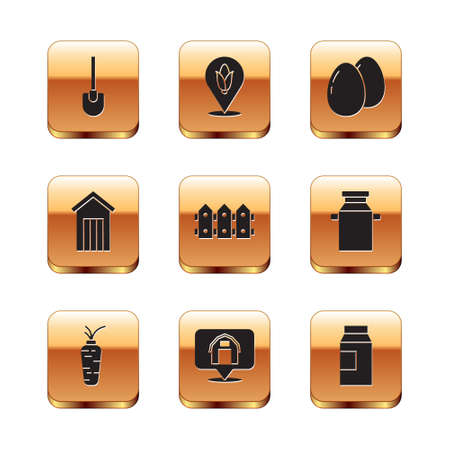 Set Shovel, Carrot, Location farm house, Garden fence wooden, Wooden outdoor toilet, Chicken egg, Paper package for milk and corn icon. Vector