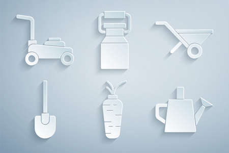 Set Carrot, Wheelbarrow, Shovel, Watering can, Can container for milk and Lawn mower icon. Vector