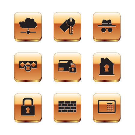 Set Network cloud connection, Lock, Firewall, security wall, Folder and lock, Password protection, Incognito mode, Safe and Marked key icon. Vector