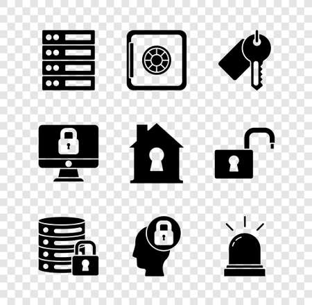 Set Server, Data, Web Hosting, Safe, Marked key, security with lock, Human head, Motion sensor, Lock computer monitor and House under protection icon. Vector