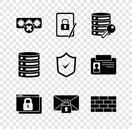 Set Password protection, Server security key, Secure your site HTTPS, SSL, Mail message password, Firewall, wall, Server, Data, Web Hosting and Shield check mark icon. Vector 일러스트