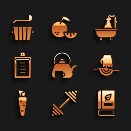 Set Teapot with cup, Dumbbell, Medical book, Massage, Carrot, Clipboard checklist, Bathtub and Sauna bucket and ladle icon. Vector