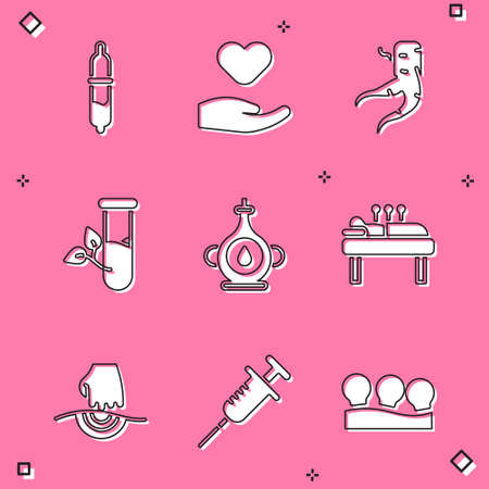 Set Pipette, Heart in hand, Ginger root, Laboratory glass leaves, Oil bottle, Acupuncture therapy, Massage and Syringe icon. Vector 일러스트