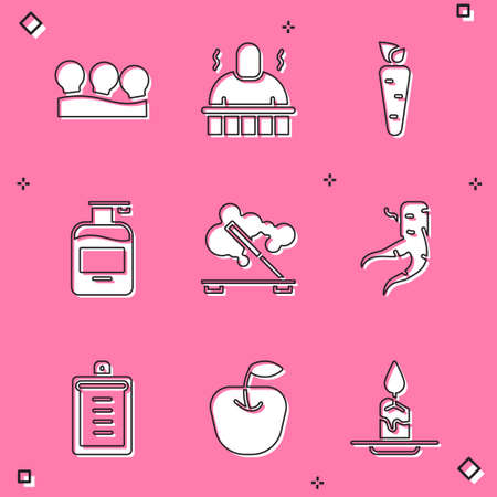 Set Vacuum cans, Sauna and spa procedures, Carrot, Bottle of liquid soap, Scented stick, Ginger root, Clipboard with checklist and Apple icon. Vector