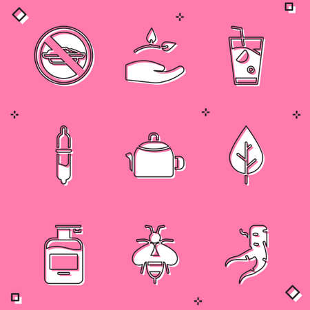 Set Food no diet, Leaf in hand, Fresh smoothie, Pipette, Kettle with handle, Bottle of liquid soap and Bee icon. Vector 일러스트