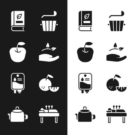 Set Leaf in hand, Apple, Medical book, Sauna bucket ladle, IV bag, Citrus fruit, Acupuncture therapy and Kettle with handle icon. Vector