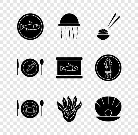 Set Served fish on a plate, Jellyfish, Sushi, crab, Seaweed, Shell with pearl, and Canned icon. Vector 일러스트