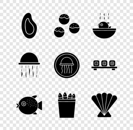 Set Mussel, Takoyaki, Puffer fish soup, Fishing bucket with fishes, Scallop sea shell, Jellyfish and on plate icon. Vector 일러스트