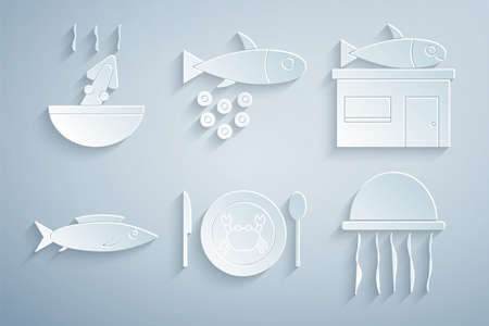 Set Served crab on a plate, Seafood store, Fish, Jellyfish, with caviar and Soup octopus icon. Vector