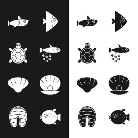 Set Fish with caviar, Turtle, Shark, Scallop sea shell, Shell pearl, Puffer fish and steak icon. Vector