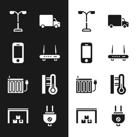 Set Router and wifi signal, Smartphone, Street light, Delivery cargo truck, Heating radiator, Meteorology thermometer, Electric plug and Warehouse icon. Vector 일러스트