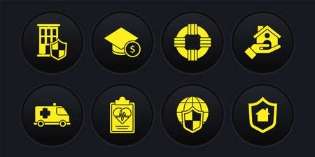 Set Emergency car, House insurance, Health, Shield with world globe, Lifebuoy, Graduation cap and coin, shield and icon. Vector