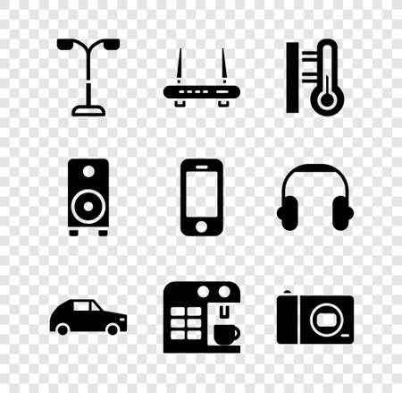 Set Street light, Router and wifi signal, Meteorology thermometer, Car, Coffee machine, Photo camera, Stereo speaker and Smartphone icon. Vector
