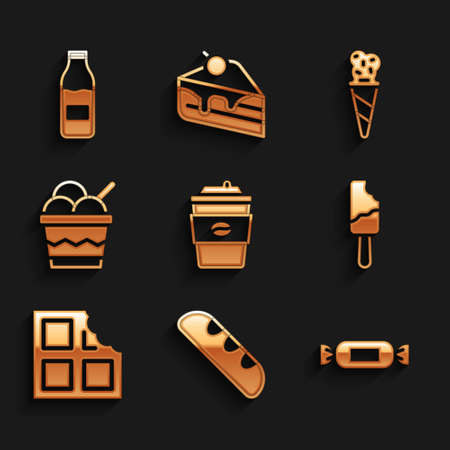 Set Coffee cup to go, French baguette bread, Candy, Ice cream, Chocolate bar, in bowl, waffle cone and Bottle with milk icon. Vector