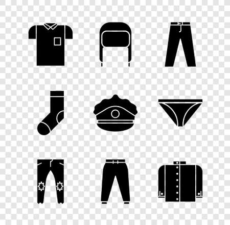 Set Polo shirt, Winter hat with ear flaps, Pants, Sport pants, T-shirt, Socks and Police cap cockade icon. Vector