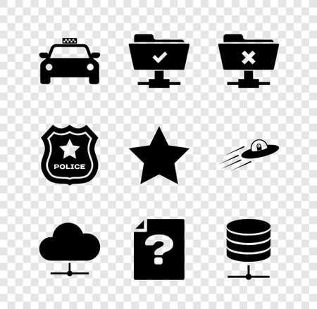 Set Taxi car, FTP operation successful, cancel, Network cloud connection, Unknown document and Server, Data, Web Hosting icon. Vector Vektoros illusztráció