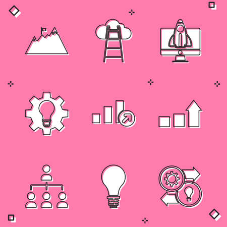 Set Mountains with flag, Stair finish, Startup project concept, Light bulb and gear, Financial growth, Hierarchy organogram chart and of idea icon. Vector