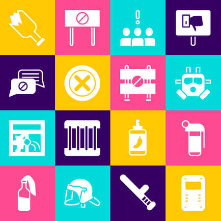 Set Police assault shield, Hand grenade, Gas mask, Crowd protest, X Mark, Cross in circle, Speech bubble chat, Broken bottle weapon and Road barrier icon. Vector Ilustración de vector