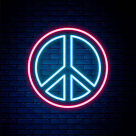 Glowing neon line Peace icon isolated on brick wall background. Hippie symbol of peace. Colorful outline concept. Vector